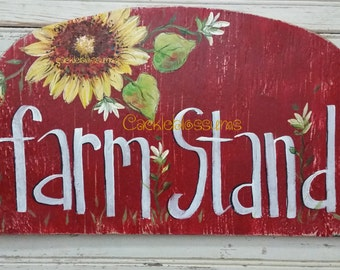 Original Hand painted Sign FarmStand on recycled wood Only One