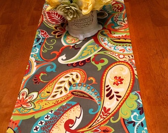 Spring Table Runner ~ Paisley Table Runner Gray,Red, Yellow,Orange and Turquoise ~ Multicolor Table Runner ~