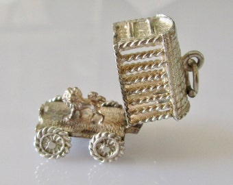 Silver Lion in a Circus Cage Charm Opens
