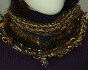 B109 mixed fiber knitted scarf, continuous loop