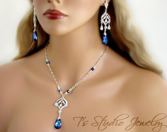 Blue Crystal Chandelier Bridal Necklace and Earrings Set - CZ Wedding Jewelry - Stones available in several colors - DAPHNE