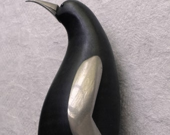Scandanavian wood penguin with pewter