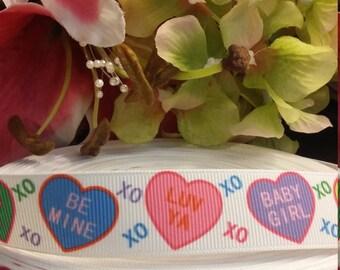 3 yards,  7/8' grosgrain ribbon valentines design