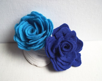 Felted Rose hairpin,Turquoise Blue or Deep Blue , Wedding brooch , Flower Brooch, Felted Brooch, Bridesmaid hairpin