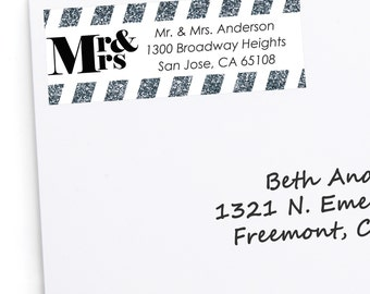 Mr. and Mrs. - Silver Address Labels - Personalized Return Address Stickers - Custom Wedding Party Supplies 30 Count