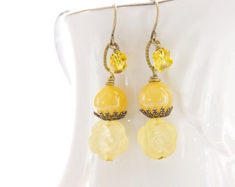 Yellow Dangle Earrings Jade Jewelry Citrine Rose Bead Earrings Yellow Jade Bronze Brass Jewelry Rustic Earrings Lemon Yellow Jewelry