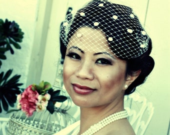 13 inch Venetian Bandeau Birdcage Veil with Chenille Dots