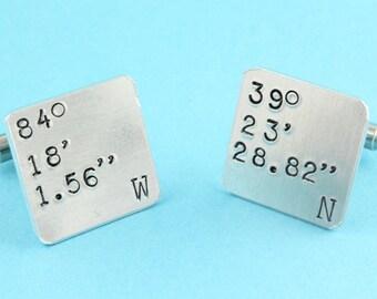 Coordinate Cufflinks - Latitude and Longitude Cufflinks - Address Cufflinks - GPS Cufflinks - Personalized Cufflinks - Square Cufflinks