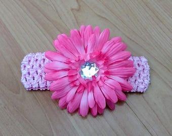 Pink Flower Headband, Baby Headband, Rhinestone Headband, Baby Hair Accessory, Infant Headband, Baby Girl Headband, Newborn Headband