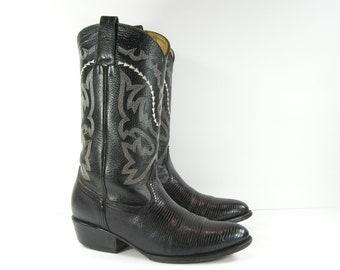 vintage cowboy boots womens 10 M black leather western lizard print white embroidery men's 8.5 D