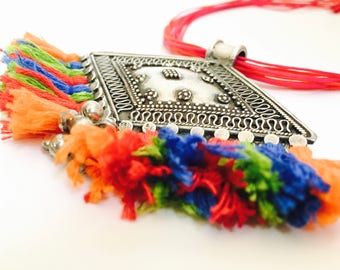 Tribal Silver Necklace with Colorful Cotton Tassels, Antique Indian Rajasthani Pendant, Tribal Statement Necklace