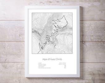 Alpe d'Huez climb, Tour de France Bike raceTopography Elevation Print Wall Art