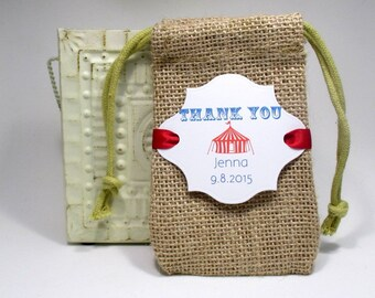 Burlap favor bags - Birthday - Party - Circus - Thank you - Set of 10 - Personalized