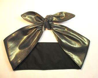 Headband Head scarf GOLD Metallic Shiny Pinup Vintage Retro Style 50s Rockabilly Hair Wrap Scarve Bandana
