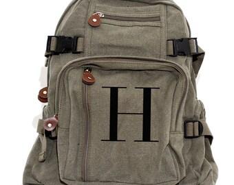 Monogramm-Rucksack personalisiert, Canvas Rucksack Schulrucksack Buchstabe H, Windel Tasche Rucksack, Kinderrucksack, Frauen Rucksack, Herren Rucksack
