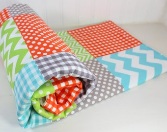 Baby Blanket, Baby Quilt, Baby Shower Gift, Nursery Decor, Patchwork Quilt, Baby Boy, Minky Baby Blanket, Gray, Orange, Aqua, Blue, Green