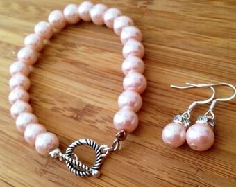 Simple Elegant Pink Gift Pearl Bridesmaid Earrings and Bracelet Set - Bridal Set or Bridesmaids Gift