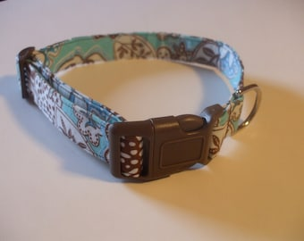 Handmade Cotton Dog Collar Aqua and Brown Print