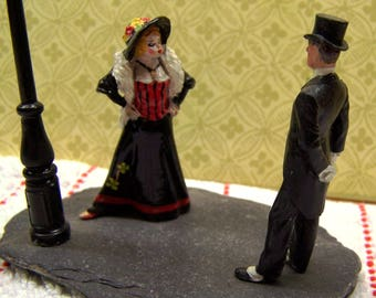 Your Place or Mine?  A Victorian scene - painted white metal figures - collectable street scene diorama - miniature diorama