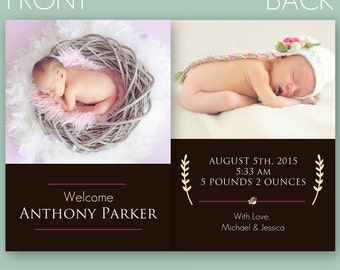 Newborn Baby Birth Announcement PSD Template (Instant Download)