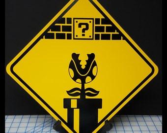 Super Mario Brothers Piranha Plant Aluminum Sign