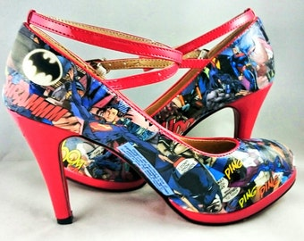 Batman and Superman Comic book Heels, Superhero Shoes, Going Out Shoes, Decoupage, OOAK, Customised