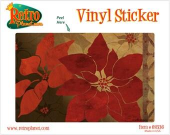 Christmas Poinsettia Flowers Gold Vinyl Sticker - #68336