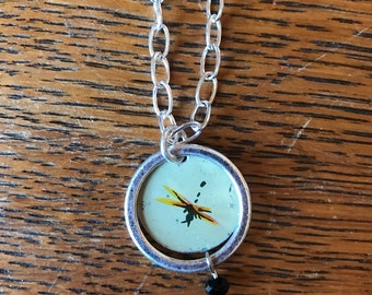 Framed Vintage Dragonfly Recycled Tin Necklace