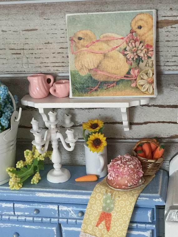 """Miniature Easter Chicks Art 2"""" x 2"""" canvas"""