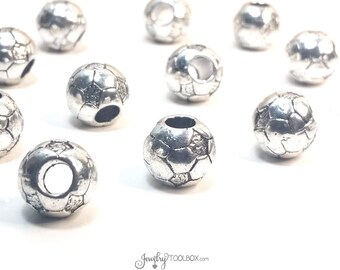 Soccer Ball Beads, Extra Large Hole Beads, Metal Beads. Antique Silver Pewter, 11x11mm, 5mm Hole, Lead Free, Lot Size 10, #1313 BH