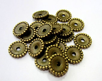 10mm antique bronze spacer Beads 36  flat round disc jewelry making supply  nickel free lead free (Z6)
