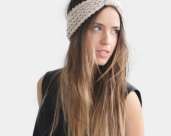 Turban Headband in Light Oatmeal, Womens Ear Warmers, Chunky Headbands, Hand Knit Turban, Winter Headbands, Custom Headband
