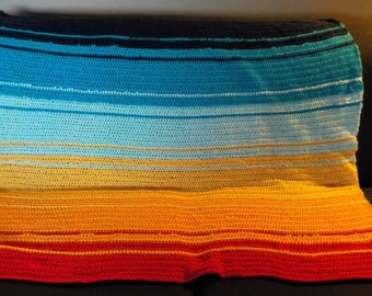 Rainbow crocheted throw