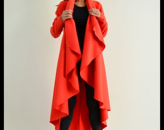 Maxi coat / Red warm coat /Long extravagant coat /Women wool coat /Adorable Cashmere coat /Winter wool coat By LOCKERROOM