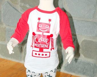 Boy's Valentine's Day Shirt/ Valentine's Day Shirt/ Robot Valentine's Day Shirt/ Toddler Valentine's Day Shirt/ Robot Love Machine/ Shirt