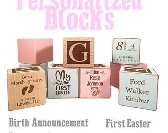 Godparent gifts-Christening bangle-Gifts for baptism-keepsake Custom Engraved wooden baby blocks for newborn girl newborn boy