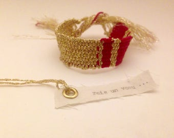 "Dark pink and gold woven bracelet collection ""Wish"""