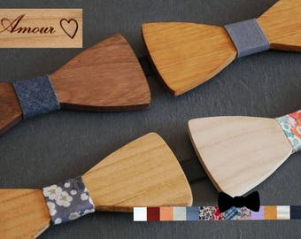 Custom wooden Bow Ties : choose engraved text, ribbon, wood color, personalized wood bowtie, personal gift boho rustic wedding
