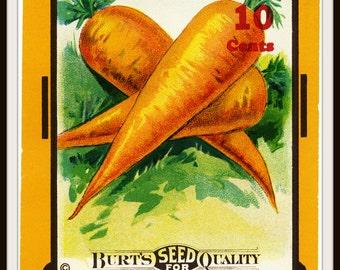 "Vintage Art Print Wall Decor ""Carrot Seed Pack Vintage Ephemera"" , 8.5 x 11, Reproduction Instant Digital Download"