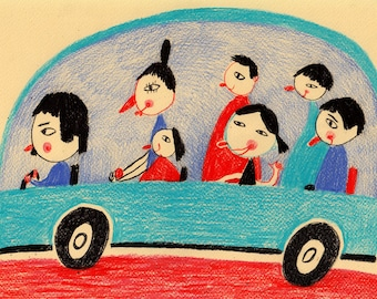 Cartoon world / ORIGINAL ILLUSTRATION / Children decor / kids art / Family car / Riding a car / Happy Original Pencil Drawing