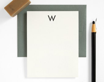 FUTURA Monogram Letterpress Stationery Set - Custom Note Card Set - Modern Design - Utility