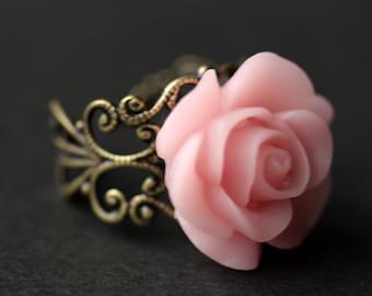 Rosa Rose Ring. Hellrosa Blumenring. Gold Ring. Silber Ring. Bronze-Ring. Kupferring. Verstellbarer Ring. Handgemachten Schmuck.