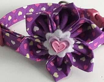 Purple Valentine's Day Flower Collar with Hearts for Female Dogs and Cats