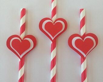 Valentines paper straws
