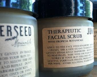 Therapeutic Facial Scrub With Papaya and Vanilla - Glass Jar