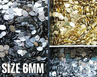 500 pcs, 6mm brass sequin, stamping tag, thin metal disc