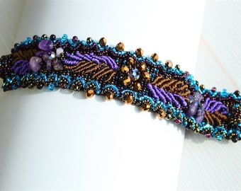 Hand beaded purple turquoise bracelet, double magnetic clasp, weaving leaves desert sunset 7 inches #106