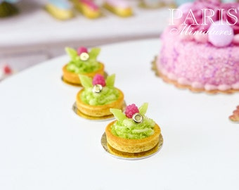 Raspberry and Pistachio Cream Tartlet - Miniature Food in 12th scale