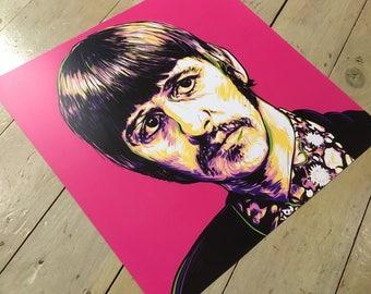 "Ringo Starr - Sgt Pepper's Lonely Hearts Club Band Beatles portrait, 16"" x 16"" digital art print."