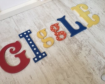 Wooden Letters GIGGLE, Play Room Decor, Kid's Room, Nursery - wall letters